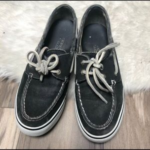 Sperry Bahamas boat shoes black white